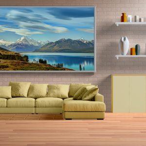 Yeni Zelanda Pukaki Gölü Büyük Ebatlarda