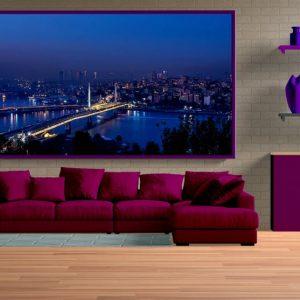 İstanbul Boğazı ve Haliç'de Gece Panoramik Poster Uyumlu
