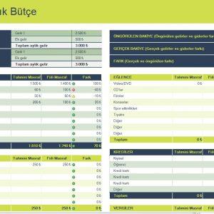 Kişisel Aylık Bütçe Geniş Elektronik Tablo Planlayıcı