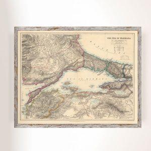 Marmara Haritası 1879 Edward Stanford Büyük Ebatlarda
