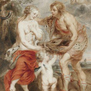 Yunan Mitolojisi Meleager ve Atalanta Yağlıboya Kanvas Efekti Uygulaması
