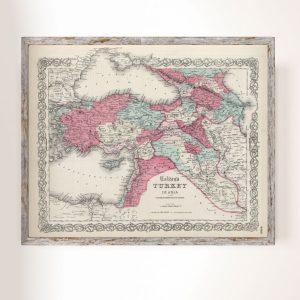 Türkiye Haritası ve Rusya Kafkas İlleri 1855 J.H. Colton Büyük Ebat