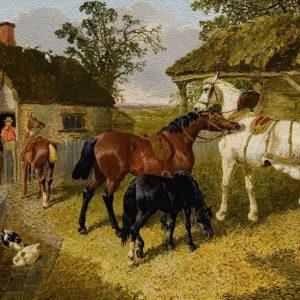 John Frederick Herring Jr. BRITISH THE STABLE YARD  Yağlı Boya Eseri Oil Paint Efekti