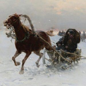 Sledding caravan by Alfred Wierusz-Kowalski 1849-1915 Yağlı Boya Eseri